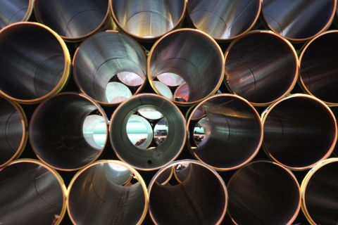 Stacked steel pipe